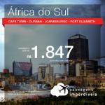 Promoção de Passagens para a <b>ÁFRICA DO SUL: Cape Town, Durban, Joanesburgo ou Port Elizabeth</b>! A partir de R$ 1.847, ida e volta, COM TAXAS! Datas até 2019!