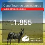 Promoção de Passagens para a <b>ÁFRICA DO SUL: Cape Town ou Joanesburgo</b>! A partir de R$ 1.855, ida e volta, COM TAXAS INCLUÍDAS, em até 4x SEM JUROS! Datas até 2019!