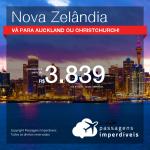 Passagens para a <b>NOVA ZELÂNDIA: Auckland ou Christchurch</b>! A partir de R$ 3.839, ida e volta, COM TAXAS, em até 5x SEM JUROS! Datas até 2019!