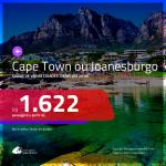 Promoção de Passagens para a <b>ÁFRICA DO SUL: Cape Town ou Joanesburgo</b>! A partir de R$ 1.622, ida e volta, COM TAXAS INCLUÍDAS! Datas para viajar até 2019!