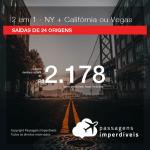 Promoção de Passagens 2 em 1 – <b>Las Vegas, Los Angeles ou San Francisco + Nova York</b>! A partir de R$ 2.178, todos os trechos, COM TAXAS!