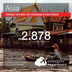 Promoção de Passagens para a <b>ÁSIA: China, Coreia do Sul, Emirados Árabes, Filipinas, Hong Kong, Israel, Japão, Líbano, Singapura, Tailândia, Vietnã ou Índia</b>! A partir de R$ 2.878, ida e volta, C/ TAXAS!