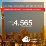 Passagens em <b>CLASSE EXECUTIVA</b> para a <b>ÁFRICA DO SUL: Joanesburgo</b> em VOO DIRETO! A partir de R$ 4.565, ida e volta, C/ TAXAS! Saídas de Curitiba, Florianópolis, RJ ou SP!