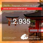 Promoção de Passagens para o <b>JAPÃO: Nagoya, Osaka ou Tokio</b>! A partir de R$ 2.935, ida e volta, COM TAXAS, em até 5x SEM JUROS! Datas até 2019! Saídas de SP!