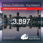 Seleção de Passagens para a <b>NOVA ZELÂNDIA: Auckland</b>! A partir de R$ 3.897, ida e volta, COM TAXAS, em até 5x SEM JUROS! Datas até 2019! Saídas do RJ ou SP!