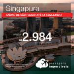 Promoção de Passagens para <b>SINGAPURA</b>! A partir de R$ 2.984, ida e volta, COM TAXAS, em até 5x SEM JUROS! Datas para viajar até 2019! Saídas de SP!