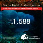 Promoção de PASSAGEM + HOTEL para <b>FERNANDO DE NORONHA</b>! A partir de R$ 1.588, por pessoa, com taxas, em até 10x SEM JUROS! Datas até 2019!
