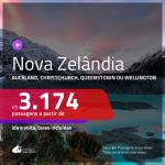 Promoção de Passagens para a <b>Nova Zelândia: Auckland, Christchurch, Queenstown, Wellington</b>! A partir de R$ 3.174, ida e volta, COM TAXAS INCLUÍDAS!