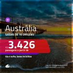 Passagens em promoção para a Austrália: Adelaide, Brisbane, Melbourne, Perth ou Sydney, com valores a partir de R$ 3.426, ida e volta, C/ TAXAS INCLUÍDAS!