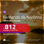 Passagens para <b>FERNANDO DE NORONHA</b>! A partir de R$ 812, ida e volta, c/ taxas!