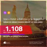 Promoção de PASSAGEM + HOTEL 4 ESTRELAS para a <b>ARGENTINA: Buenos Aires</b>! A partir de R$ 1.108, por pessoa, c/ taxas, em até 12x s/ juros!