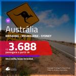 Seleção de Passagens para a <b>AUSTRÁLIA: Brisbane, Melbourne ou Sydney</b>! A partir de R$ 3.688, ida e volta, c/ taxas!