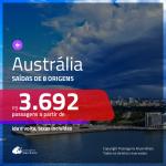 Passagens em promoção para a AUSTRÁLIA: Brisbane, Melbourne ou Sydney, com valores a partir de R$ 3.692, ida e volta, c/ taxas!