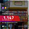 Promoção de PASSAGEM + HOTEL para a <b>ARGENTINA: Buenos Aires</b>! A partir de R$ 1.147, por pessoa, c/ taxas!