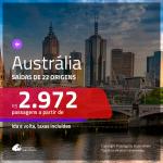 Promoção de Passagens para a <b>AUSTRÁLIA: Brisbane, Melbourne ou Sydney</b>! A partir de R$ 2.972, ida e volta, c/ taxas!