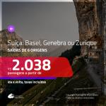 Promoção de Passagens para a <b>SUÍÇA: Basel, Genebra ou Zurique</b>! A partir de R$ 2.038, ida e volta, c/ taxas!