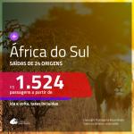 Passagens em promoção para a África do Sul: Cape Town, Durban, Joanesburgo ou Port Elizabeth, com valores a partir de R$ 1.524, ida e volta, c/ taxas!