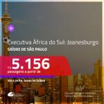 Passagens em <b>CLASSE EXECUTIVA</b> para a <b>ÁFRICA DO SUL: Joanesburgo</b>! A partir de R$ 5.156, ida e volta, c/ taxas!
