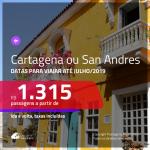 Promoção de Passagens para o <b>CARIBE COLOMBIANO: Cartagena ou San Andres</b>! A partir de R$ 1.315, ida e volta, c/ taxas!