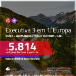 Passagens 3 em 1 em CLASSE EXECUTIVA para a <b>SUÍÇA: Zurique + ALEMANHA: Frankfurt + ITÁLIA: Roma ou PORTUGAL: Lisboa</b>! A partir de R$ 5.814, todos os trechos, c/ taxas!