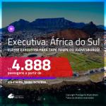 Passagens em <b>CLASSE EXECUTIVA</b> para a <b>ÁFRICA DO SUL: Cape Town ou Joanesburgo</b>! A partir de R$ 4.888, ida e volta, c/ taxas!