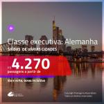 Promoção de Passagens em <b>CLASSE EXECUTIVA</b> para a <b>ALEMANHA: Frankfurt</b>! A partir de R$ 4.270, ida e volta, c/ taxas!