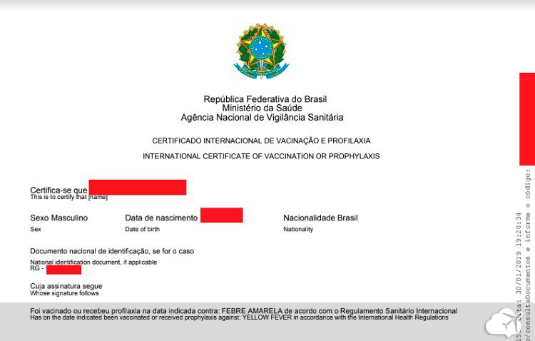 certificado internacional de vacinacao exemplo