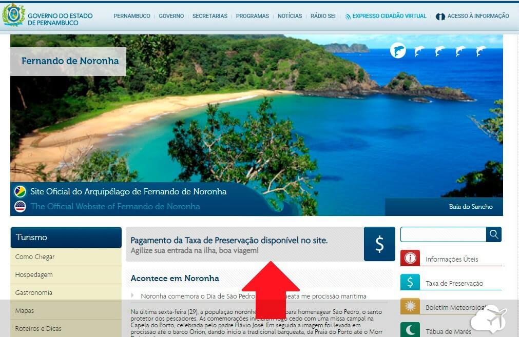 Site oficial taxa preservação Noronha