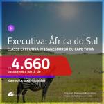 Passagens em <b>CLASSE EXECUTIVA</b> para a <b>ÁFRICA DO SUL: Joanesburgo ou Cape Town</b>! A partir de R$ 4.660, ida e volta, c/ taxas!