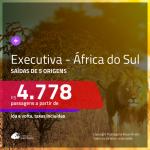 Passagens em <b>CLASSE EXECUTIVA</b> para <b>ÁFRICA DO SUL: Joanesburgo ou Cape Town</b>! A partir de R$ 4.778, ida e volta, c/ taxas!