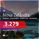 Promoção de Passagens para a <b>NOVA ZELÂNDIA: Auckland, Christchurch, Queenstown ou Wellington</b>! A partir de R$ 3.279, ida e volta, c/ taxas!