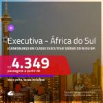 Passagens em <b>CLASSE EXECUTIVA</b> para a <b>ÁFRICA DO SUL: Joanesburgo</b>! A partir de R$ 4.349, ida e volta, c/ taxas!