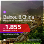 BAIXOU!! Passagens para a <b>CHINA: Pequim, Xangai; HONG KONG: Hong Kong</b>, com valores a partir de R$ 1.855, ida e volta, c/ taxas!