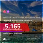 Passagens em CLASSE EXECUTIVA 3 em 1 – <b>ALEMANHA + SUÍÇA + ESPANHA ou PORTUGAL</b>! A partir de R$ 5.165, todos os trechos, c/ taxas! Datas até 2020, inclusive ANO NOVO!!!