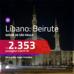 Promoção de Passagens para <b>LÍBANO: Beirute</b>! A partir de R$ 2.353, ida e volta, c/ taxas!