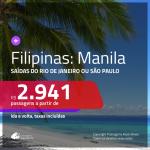 Promoção de Passagens para as <b>FILIPINAS: Manila</b>! A partir de R$ 2.941, ida e volta, c/ taxas!