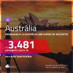 Passagens para a <b>AUSTRÁLIA: Brisbane, Melbourne ou Sydney</b>, ida e volta. Para os 10 primeiros, desconto adicional de R$ 400, com valor final de R$ 3.481, c/ taxas!