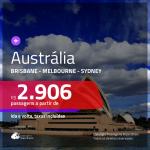 Promoção de Passagens para a <b>AUSTRÁLIA: Brisbane, Melbourne ou Sydney</b>! A partir de R$ 2.906, ida e volta, c/ taxas!