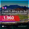 Promoção de Passagens 2 em 1 para a <b>ÁFRICA DO SUL</b> – Vá para: <b>Cape Town + Joanesburgo</b>! A partir de R$ 1.960, todos os trechos, c/ taxas!
