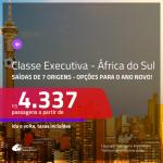 Passagens em <b>CLASSE EXECUTIVA</b> para a <b>ÁFRICA DO SUL: Joanesburgo ou Cape Town</b>! A partir de R$ 4.337, ida e volta, c/ taxas! Opções para as Férias de Janeiro e Ano Novo!