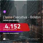 Passagens em <b>CLASSE EXECUTIVA</b> para os <b>ESTADOS UNIDOS: Boston</b>! A partir de R$ 4.152, ida e volta, c/ taxas! Opções voando pela Copa Airlines!