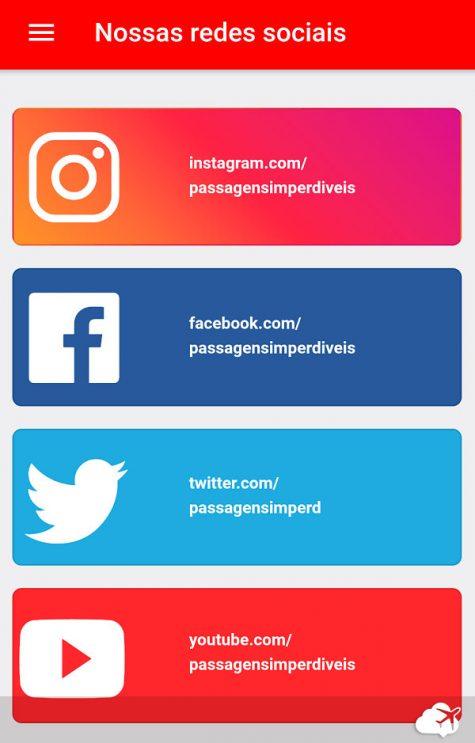 Redes sociais app do Passagens Imperdíveis