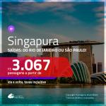 Promoção de Passagens para <b>SINGAPURA</b>! A partir de R$ 3.067, ida e volta, c/ taxas!