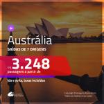 Promoção de Passagens para a <b>AUSTRÁLIA: Brisbane, Melbourne, Sydney</b>! A partir de R$ 3.248, ida e volta, c/ taxas!