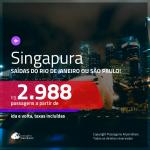 Promoção de Passagens para <b>SINGAPURA</b>! A partir de R$ 2.988, ida e volta, c/ taxas!