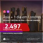 Promoção de Passagens para a <b>ÁSIA + 1 dia em Londres</b> – Economize na sua passagem para a <b>Tailândia, Singapura, Emirados Árabes ou Qatar</b>, ficando 1 dia em LONDRES! A partir de R$ 2.497, todos os trechos, c/ taxas!