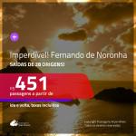 IMPERDÍVEL!!! BAIXOU!!! Promoção de Passagens para <b>FERNANDO DE NORONHA</b>! A partir de R$ 451, ida e volta, c/ taxas!