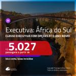 Promoção de Passagens em <b>CLASSE EXECUTIVA</b> para a <b>ÁFRICA DO SUL: Cape Town ou Joanesburgo</b>, com opções para o ANO NOVO a partir de R$ 5.027, ida e volta, c/ taxas!