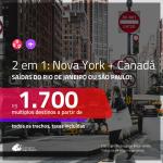 Promoção de Passagens 2 em 1 – <b>NOVA YORK + CANADÁ: Montreal, Toronto ou Vancouver</b>! A partir de R$ 1.700, todos os trechos, c/ taxas!