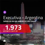Passagens em <b>CLASSE EXECUTIVA</b> para <b>ARGENTINA: Buenos Aires</b>! A partir de R$ 1.973, ida e volta, c/ taxas! Opções voando EMIRATES!